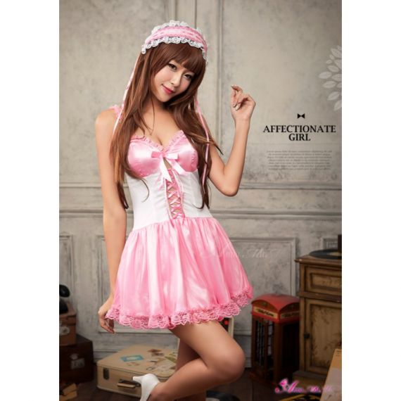 Anna Mu - Gentle Maiden Style Pink Meshed Skirted Cosplay ( special sales)