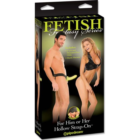 Fetish fantasy series - for him or her Non-vibrating hollow strapon glow in the dark
