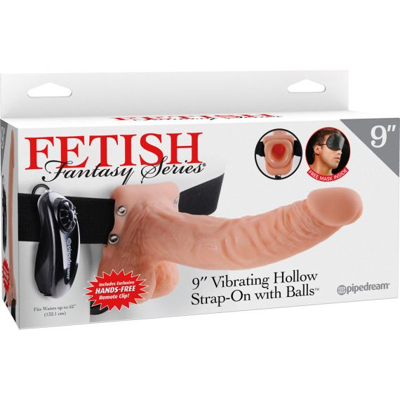 Fetish Fantasy Series - 9″ Vibrating Hollow Strap-On with Balls