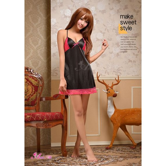 Anna Mu - V-neck black silk sexy dress