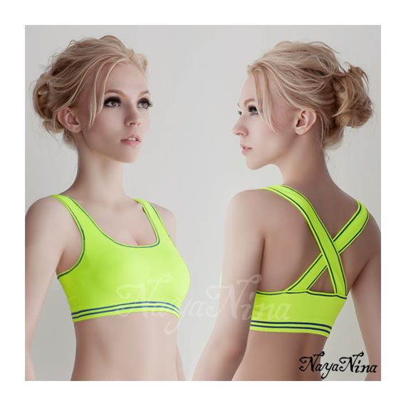 Anna Mu - Yoga Master Seamless Yellow Sports Bra w/ Blue Seam (Special Sales!)