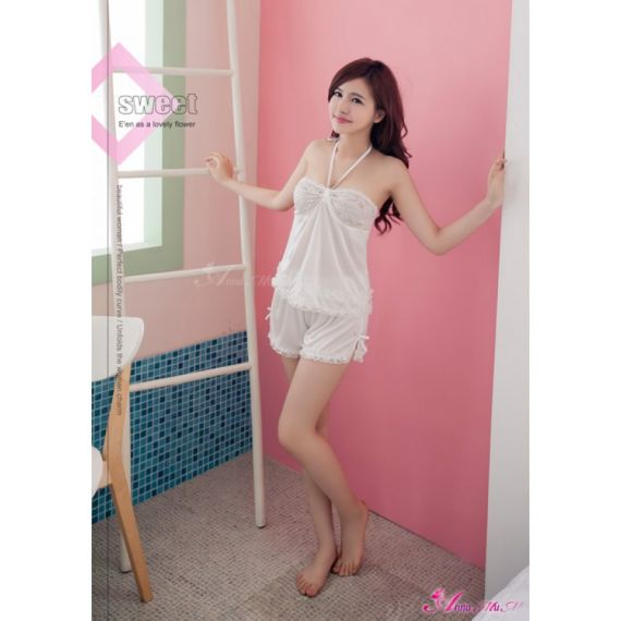 Anna Mu - Neck Tie Style 2PC sleepwear
