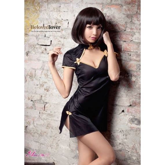 Anna Mu - Cleavage Window Moonshine Black Cheongsam