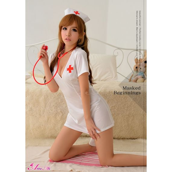 Anna Mu - Full Length Belted Back Nurse Cosplay (White)