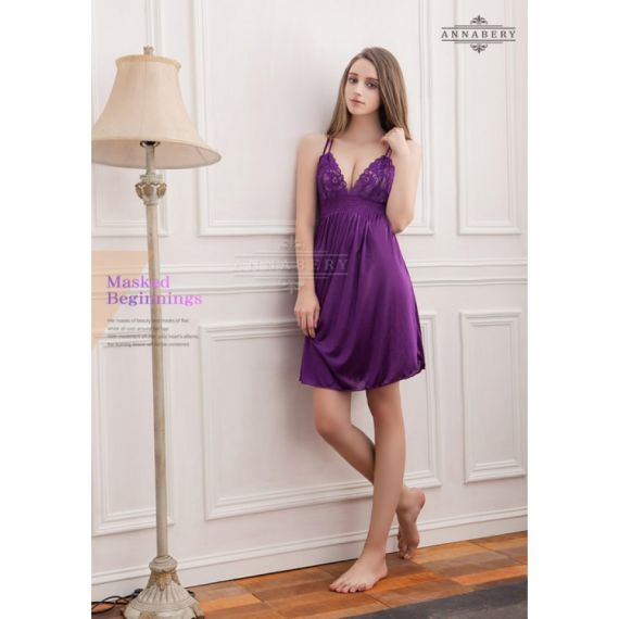 AnnaBery -  Majestic Purple Satin Plus Size Babydoll(PLUS SIZE)