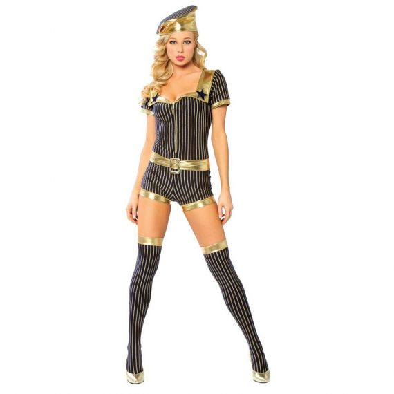 Roma - Sexy Romper Vintage Style Navy Costume (Halloween Party)