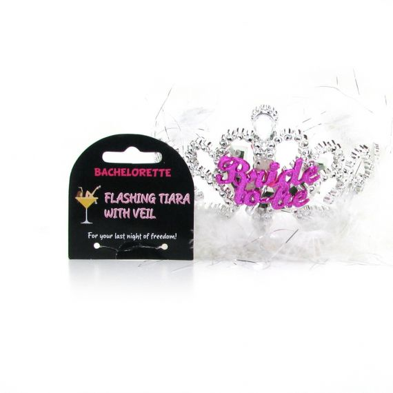 Bachelorette Party - Bride to Be Flashing Tiara with Veil