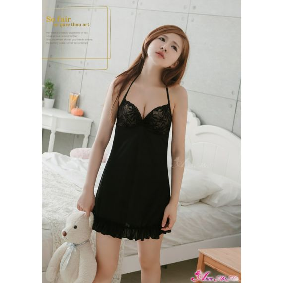 Anna Mu - Halterneck Chemise with Lacey Cup